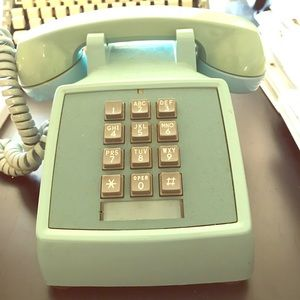 Other - Vintage turquoise teal blue push button cord phone